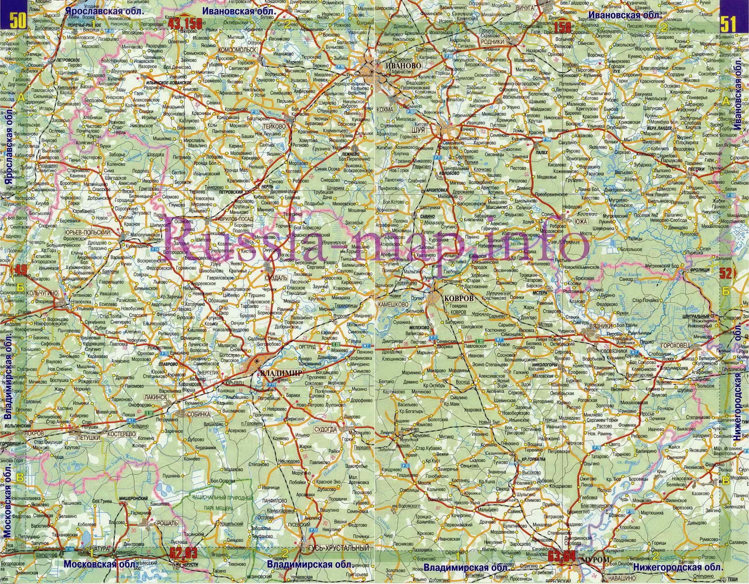 Карта Дорог Нижегородской Области Подробная С Деревнями