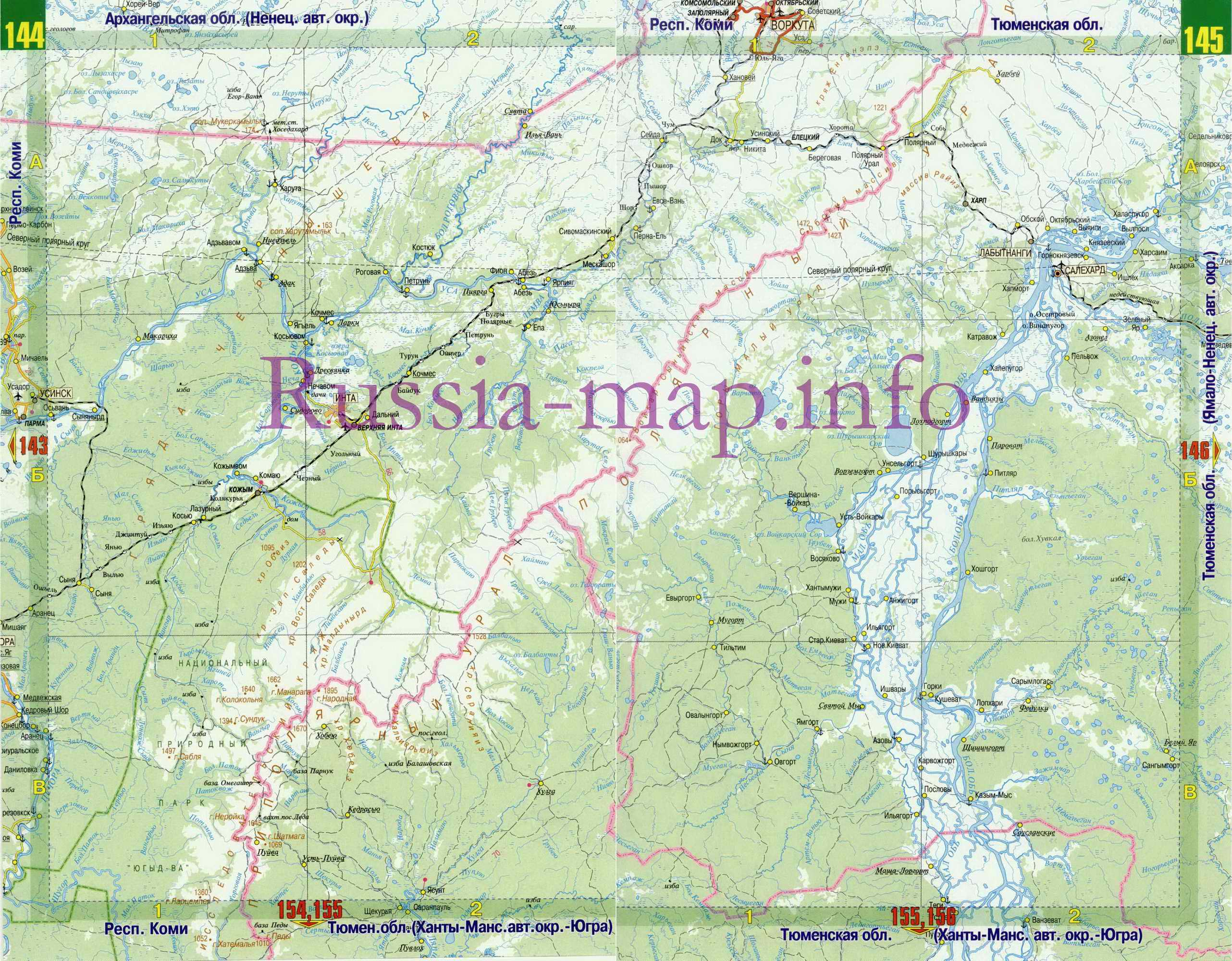 Карта дорог Коми. Карта автодорог республики Коми, A0: http://euro-atlas.ru/map1101646_0_0.htm