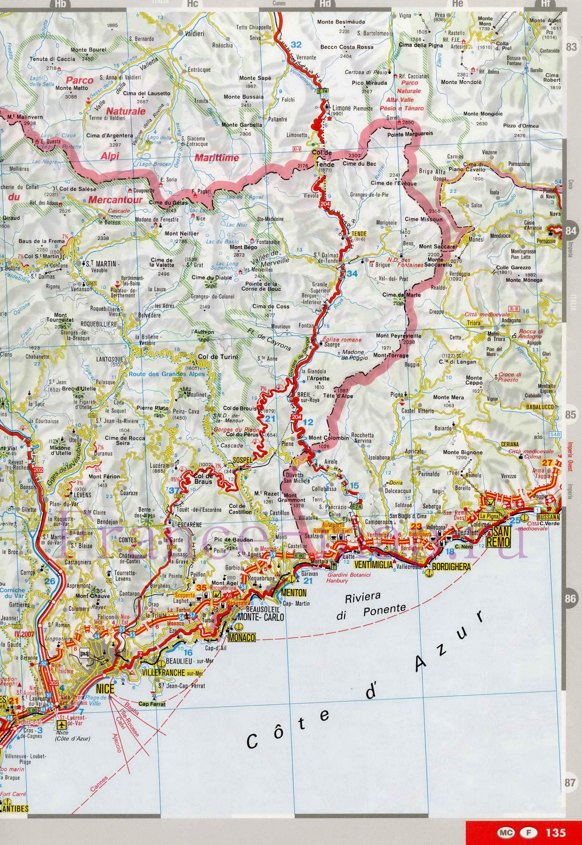 Karta Lazurnogo Berega Francii Na Granice S Italiej Podrobnaya
